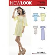 6550 New Look Pattern: Misses' Off-the-Shoulder Dresses